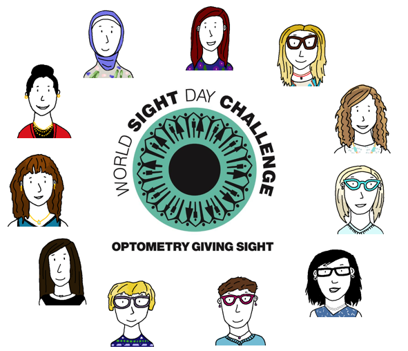 Drawings of the eleven members of the Milton Family Eyecare team are arranged in a circle. They surround a teal-coloured eye logo with the words World Sight Day Challenge Optometry Giving Sight.
